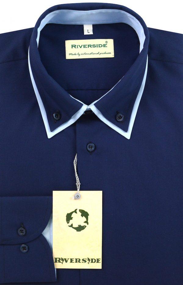 Dupla windsor galléros zseb nélküli ing kerek kézelővel 100% pamut alapanyagból.
